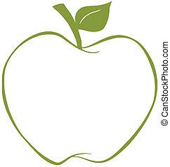 mela verde, contorno