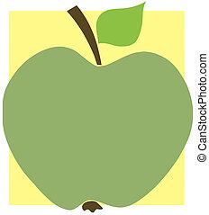 mela, verde, quadrato giallo