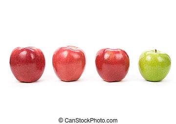 mela verde, rosso