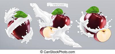 mela, yogurt., realistico, vettore, schizzo, 3d, latte, icona