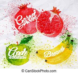 melagrana, mela, acquarello, frutta, verde, banana, anguria