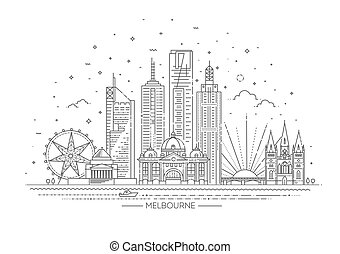 melbourne, australia, skyline., linea, skyline città, illustrazione