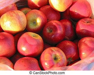 mele rosse, mercato, coltivatore