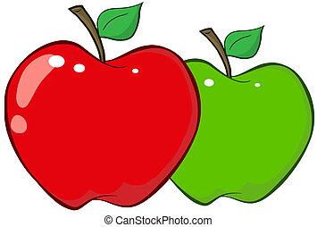 mele verdi, rosso