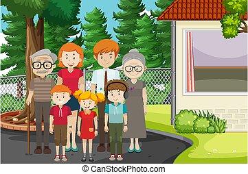 membro, esterno, scena, famiglia, parco