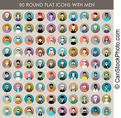 men., rotondo, set, icone, appartamento