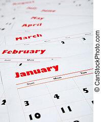 mensile, calendari, pila