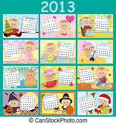 mensile, calendario, bambino, 2013