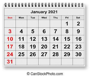 mensile, -, gennaio, 2021, calendario, mese