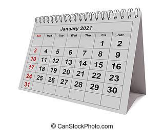 mensile, gennaio, mese, calendario, -, 2021