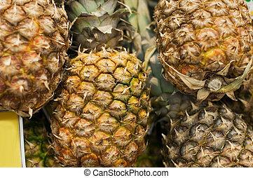 mensola, ananas, supermercato