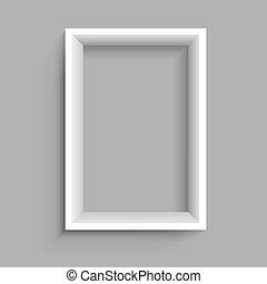 mensola, bianco, verticale, rettangolare