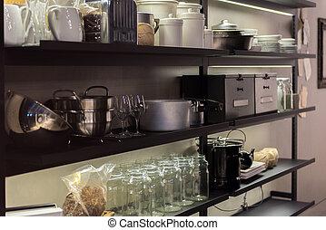 mensola, cucina commerciale