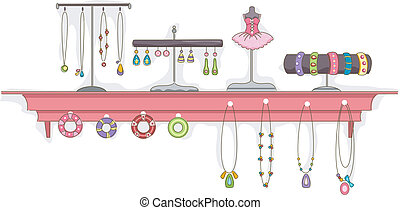 mensola, gioielleria, mostra