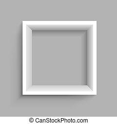 mensola, quadrato, fondo, grigio