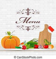 mensola, verdura, disegno, tuo, fresco