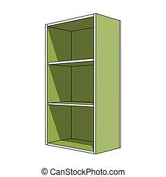 mensole, semplice, immagine, -, gabinetto, verde, 3d