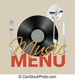 menu, concept., vettore, musica, fondo, vinile, coltello