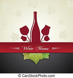 menu, coperchio, vino