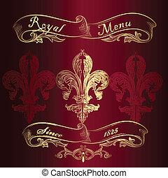 menu, de, reale, fleur, disegno, lis
