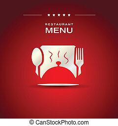 menu, disegno, coperchio, ristorante