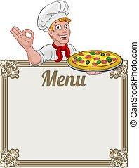 menu, fondo, chef, uomo, pizza, segno, cuoco, cartone animato