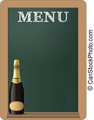 menu, lavagna, vino