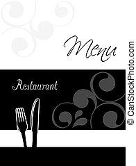 menu ristorante, -, disegno, sagoma, opuscolo