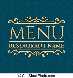 menu ristorante, illustrazione, elegante, vettore, design.