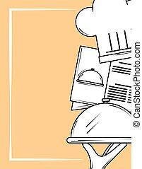 menu, ristorante, mano, cappello, stile, piatto da portata, linea, chef