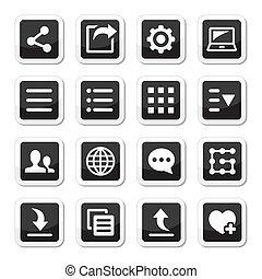 menu, set, attrezzi, regolazioni, icone