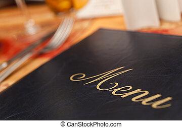 menu, &, tavola, coltelleria, ristorante