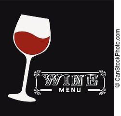 menu, vino, disegno