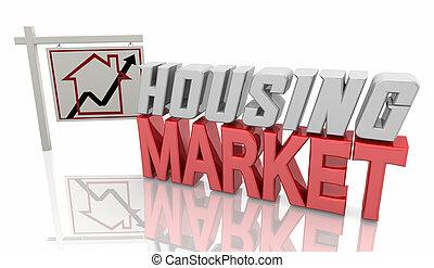 mercato, alloggio, casa, 3d, casa, illustrazione, segno, proprietà, reale, vendita