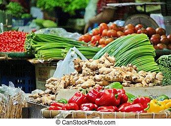 mercato fresco, verdura, locale