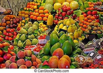 mercato, la, boqueria, barcellona, fuoco., famoso, selettivo, mondo, spain., fruits.