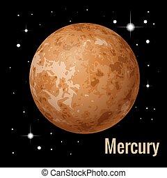 mercurio, pianeta, isometrico, illustration., sistema, alto, vettore, planets., solare, qualità, 3d