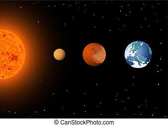 mercurio, venere, &, sole, terra