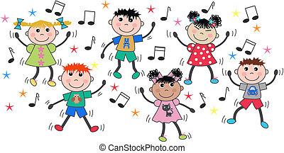 mescolato, ballo, bambini, etnico, discoteca