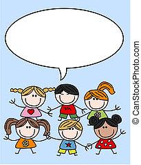 mescolato, bambini, bambini, etnico