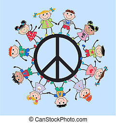 mescolato, bambini, etnico