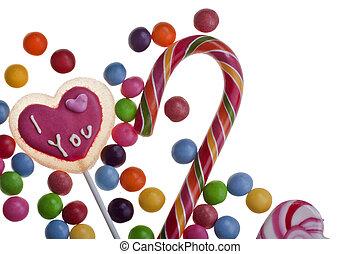 mescolato, dolci, lecca lecca, colorito