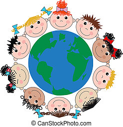 mescolato etnico, bambini, felice