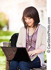 mescolato, laptop, corsa, studente università
