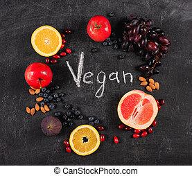mescolato, vegan, sano, lavagna, frutta, genuino, pf, fondo., concetto, sopra
