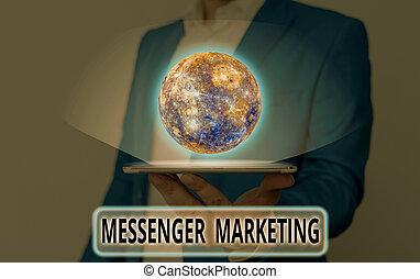 messaggero, questo, parola, scrittura, usando, ammobiliato, elementi, testo, marketing., clienti, app, tuo, concetto affari, messaging, marketing, immagine, nasa., atto