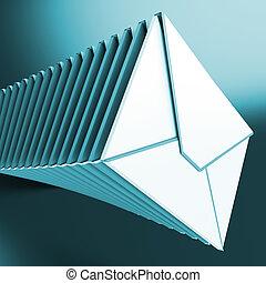 messaggi, accatastato, computer, inbox, buste, mostra