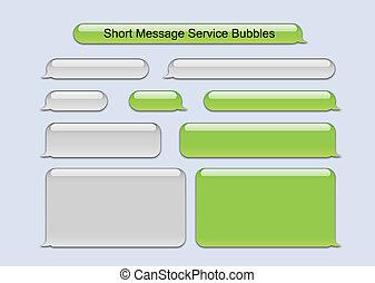 messaggio, corto, bolle, servizio