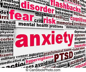 messaggio, disordine, ansia, simbolo, concetto