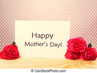 messaggio, garofani, giorno, scheda, madri